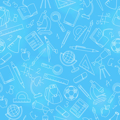 Seamless pattern on the theme of the school, a simple contour icons, light outline on a blue background