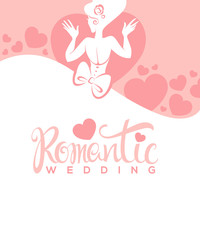 wedding dreaas, vector template design with image of beautiful b
