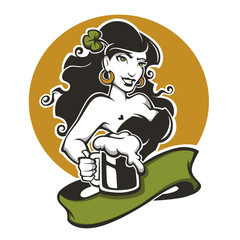 Sexy girl and beer, vector emblem for you Saint Patrick day desi