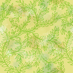 Seamless floral hand drawn green ornament