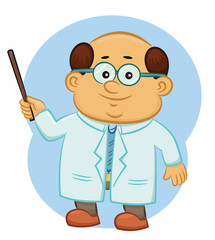 Professor Teaching with A Stick Cartoon Illustration on Isolated Background
