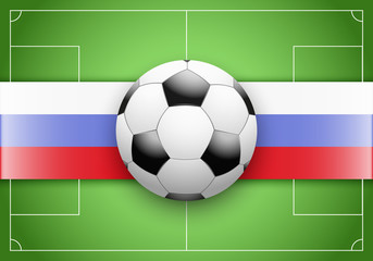Flag of Russia and football ball on soccer field. Vector Illustration isolated on white background.