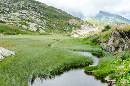 River in the Swiss Alps flowing trough a green lush field. The water is clean and fresh. The creek extends to the mountains in the back.