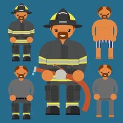 Flat firefighter character. Fireman kit uniform construction