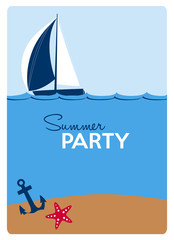 summer party invitation card with a sailing boat, anchor and a red starfish