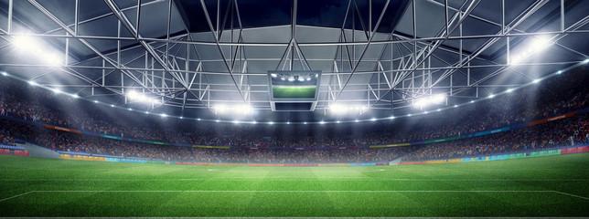 empty soccer stadium 3D in light rays at night render