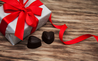Gift box and chocolate candy
