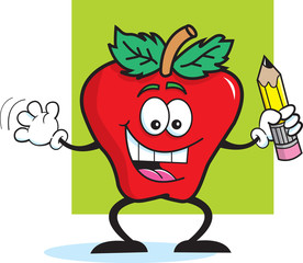 Cartoon illustration of an apple holding a pencil.