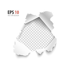 Transparent hole in white paper isolated on background.  Vector illustration element for web and print.