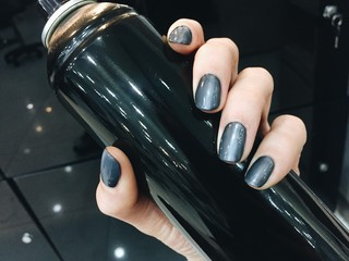 grey glitter nails, casual style