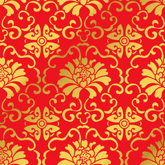 Seamless Golden Chinese Background Botanic Spiral Vine Flower
