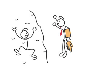 Creative Business Strategy Tips Stickman Illustration Concept - Wise Confidence Decision Making