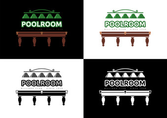 Poolroom - Billiard Club Logo Design. Different versions of graphic logo in vector format on the subject of Billiards/Entertainment.