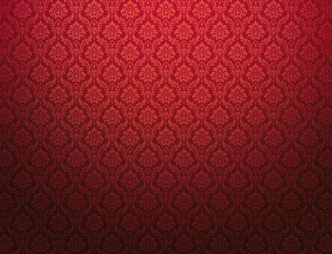 Red damask pattern background