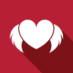Heart with wings vector flat icon with long shadow. Love symbol. Valentine's Day sign, emblem isolated on red background, Flat style for graphic and web design, logo. EPS10