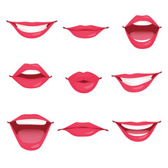 Red woman lips with diferent expression isolated
