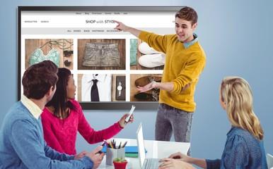 Composite image of creative businessman giving a presentation