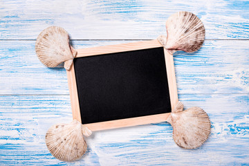 Tropical frame with seashells on blue wooden background