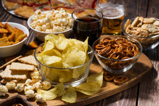 fast food, assortment of snacks for beer