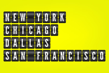 New York Chicago Dallas San Francisco american cities flip symbols. Vector scoreboard illustration. Black and white airport signs on yellow background