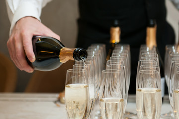 Champagne glasses on the table during the party.