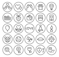 Set of Quality Universal Standard Minimal Simple Valentine's Day Black Thin Line Icons on Circular Buttons on White Background