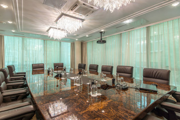 Interior of a modern office meeting room with window