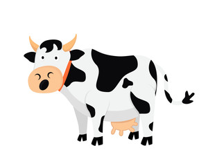 Flat Cute Animal Character Logo - Cow