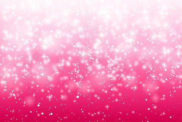 Vector Illustration of a Valentines Day Card. Falling snow, sparkle star, snow on a pink background. Abstract white glitter confetti background. Romantic valentine backdrop.