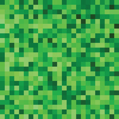 Abstract pixel seamless pattern in shades of green color. Vector background.
