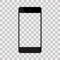 Realistic black phone with blank screen, isolated on background.