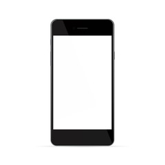 Realistic black phone with white screen, isolated on white backg