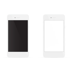 Realistic white phones with white and black screen, isolated on