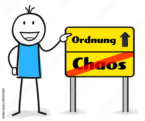 figur zeigt auf wegweiser schild mit ordnung und chaos durchgestrichen stockfotos und. Black Bedroom Furniture Sets. Home Design Ideas