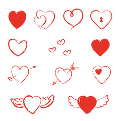 Hand Drawn Heart With Wings And Arrows Isolated Vector Set