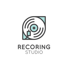 Simple Vector Icon Style Music Logos. Recording Studio Label. Podcast and Radio Badge with Sample Text. Design with Vinyl Player, Disk and Needle