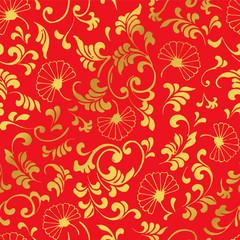 Seamless Golden Chinese Background Curve Spiral Leaf Flower