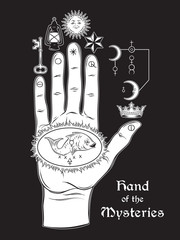 The hand of the Mysteries. The alchemical symbol of apotheosis, the transformation of man into god. Hand drawn medieval esoteric style vector illustration. Tattoo or poster print design