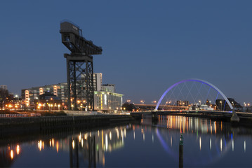 View down the River Clyde in Glasgow, Scotland.