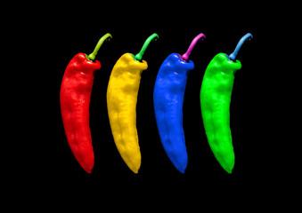 vier bunte Chilis Popart