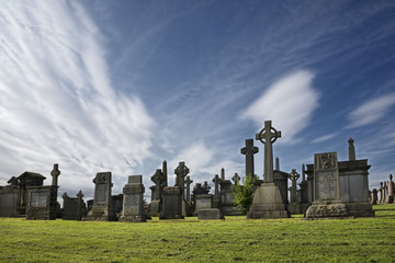 Sky over the Glasgow Necropolis graveyard.