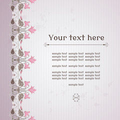 Vector card. Vintage border in modern style with cyclamen plants  and cicadas. Old paper, strips and stains. Place for your text. Perfect for invitations, announcement or greetings.