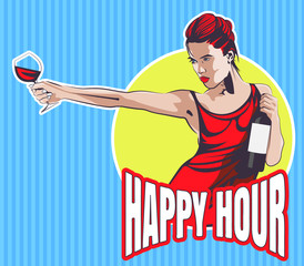 Young woman with wine glass and wine bottle. Text Happy Hour. Vector image.