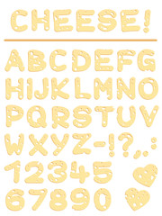 Cheese alphabet - yummy letters, numbers and signs.