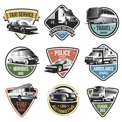 Public And Emergency Transport Logos Set