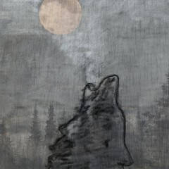 art wolf painted abstract background