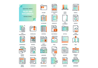 Gradient and Line Art File and Document Icons