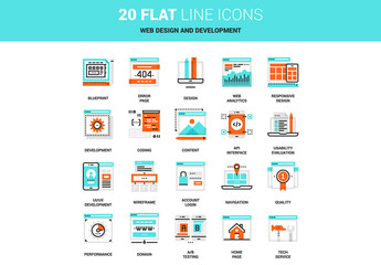 20 Line Art Web Design Icons