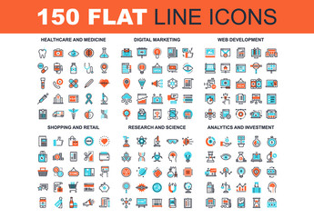 150 Three-Color Line Art Icons 2
