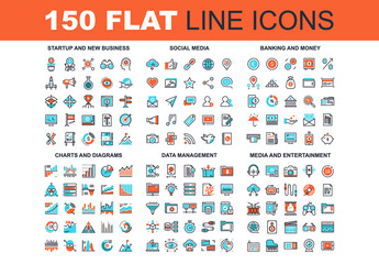150 Three-Color Line Art Icons 4